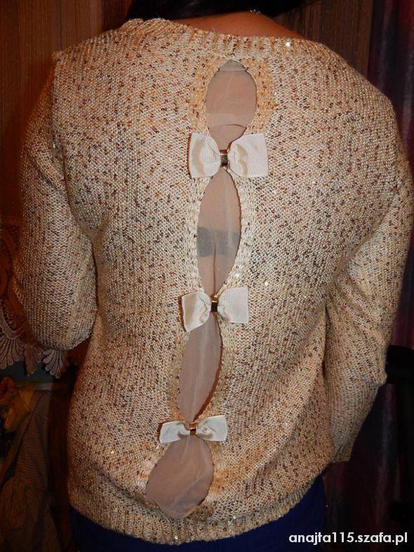 złoty sweterek z kokardkami mgiełka WIELKA OKAZJA