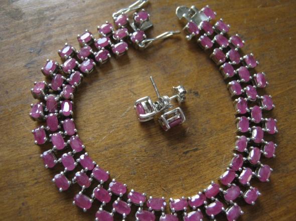 srebro z rubinami
