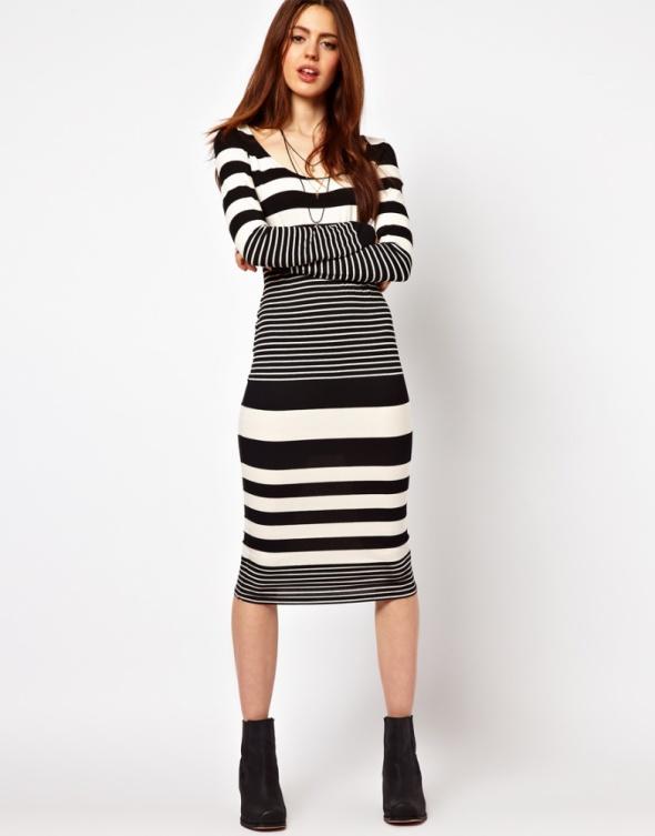 ASOS czarno biała sukienka midi w paski dopasowana...