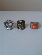Trzy pierścionki sygnety oczko róża kwiatek cyrkonia Japan styl...