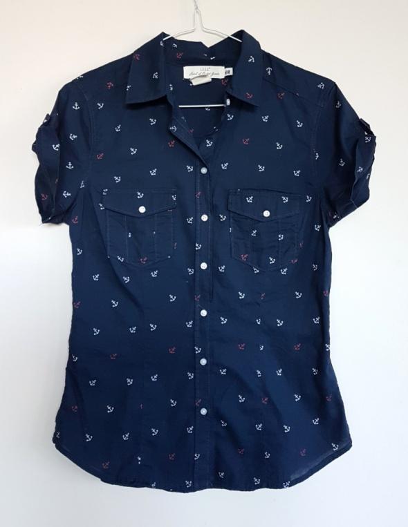 Nowa koszula H&M kotwice styl marynarski 36 S