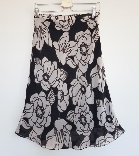 Elegancka spódnica H&M w kwiaty brązowa XS 34