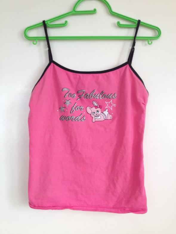 Różowa piżama piżamka XS S 34 36 top koszulka regulowane ramiączka nadruk królik używana delikatna