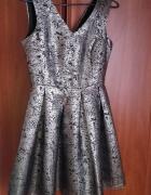 Sukienka Reserved metaliczna srebrna r36