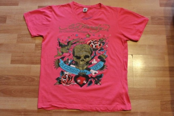 Ed HARDY damski t shirt koszulka by Christian Audigier różowa L