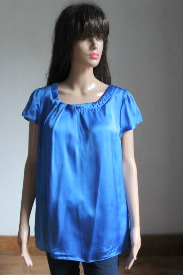 Niebieska atłasowa bluzka na krótki rękawek r 3XL...