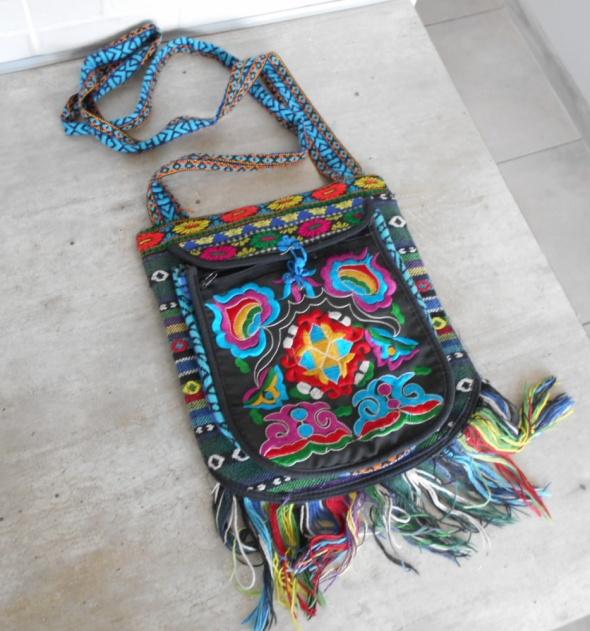 vintage torebka etno hafty frędzle listonoszka hippie...