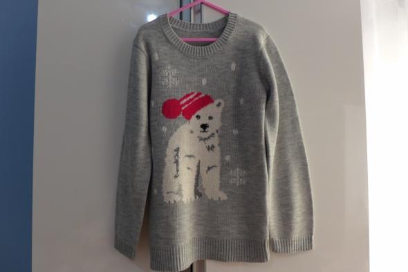 Śliczny świąteczny sweterek Dunnes Stores rozm 128 na 8 lat