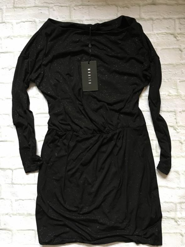 Mohito czarna błyszcząca sukienka S 36