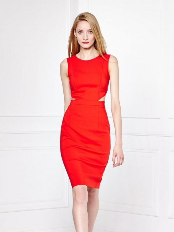 MOHITO Sukienka czerwona z wycięciami XXS lub XS