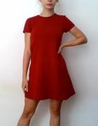Sukienka jesienna Zara trapezowa krótki rękaw czerwona S...