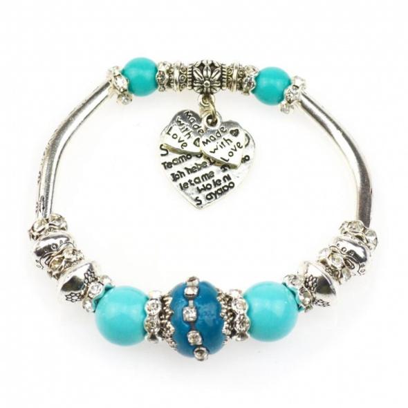 Bransoletka modułowa charms silver blue 18 do 20cm