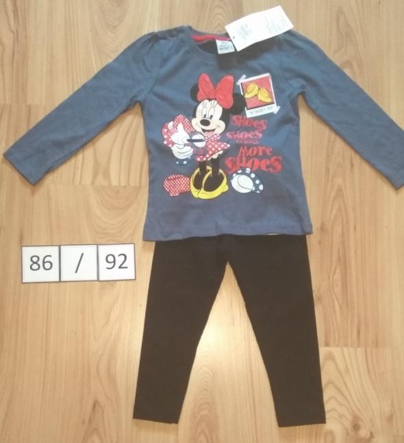 Bluza z dlugim rękawem Myszka Minni Mouse Disney czarne getry 86 92