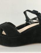 Czarne skórzane sandały 39