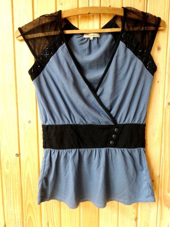 bluzka s 36 reserved niebieska czarna...