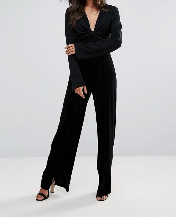 Czarny długi kombinezon elegancki ze splotem welurowe spodnie z...
