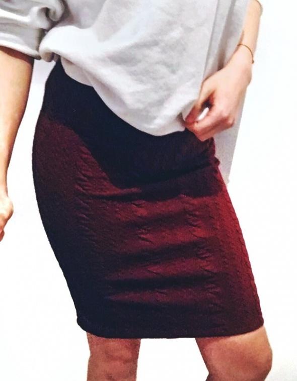 bordowa ołówkowa spódnica midi C&A XS...