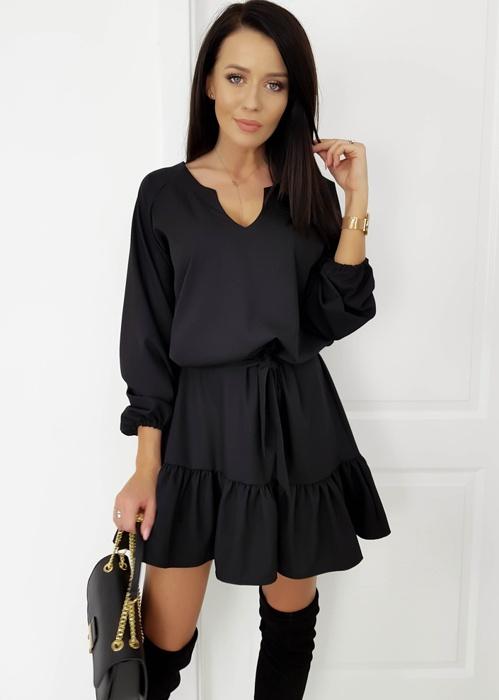 lalu sukienka nowa czarna pasek falbana dekold uni