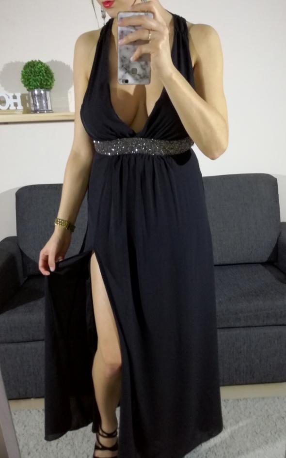 Czarna elegancka sukienka maxi długa kryształki studniówka ASOS...
