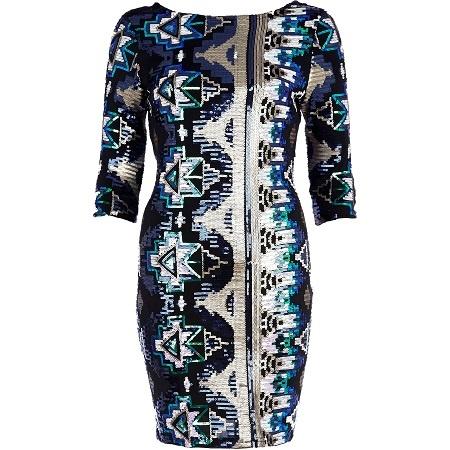 Kolorowa Sukienka w cekiny River Island...
