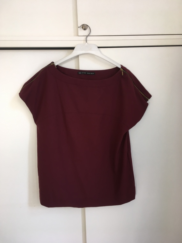 burgundowa bluzka Zara L...