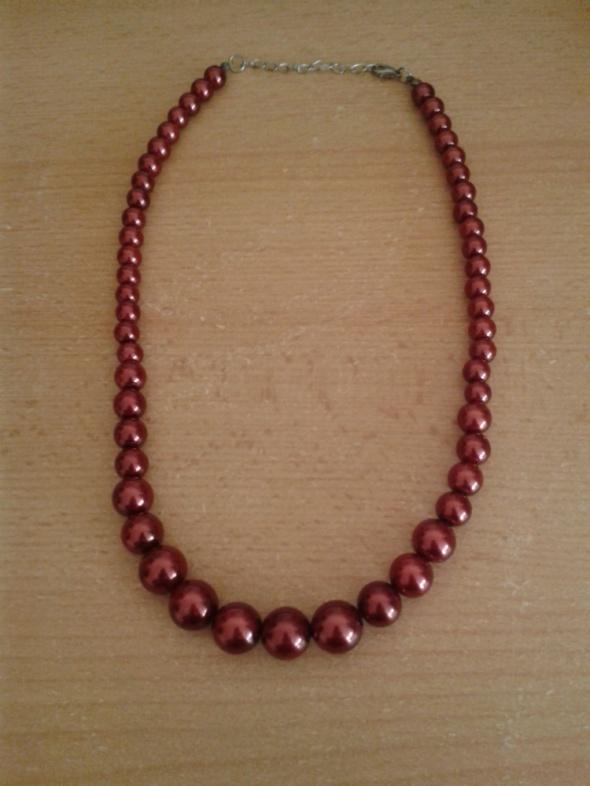 Naszyjnik szklane perły kolor ciemnoczerwony wino 51cm