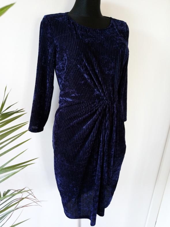Seksowna welurowa sukienka w prążki aksamitna granatowa sukienk...