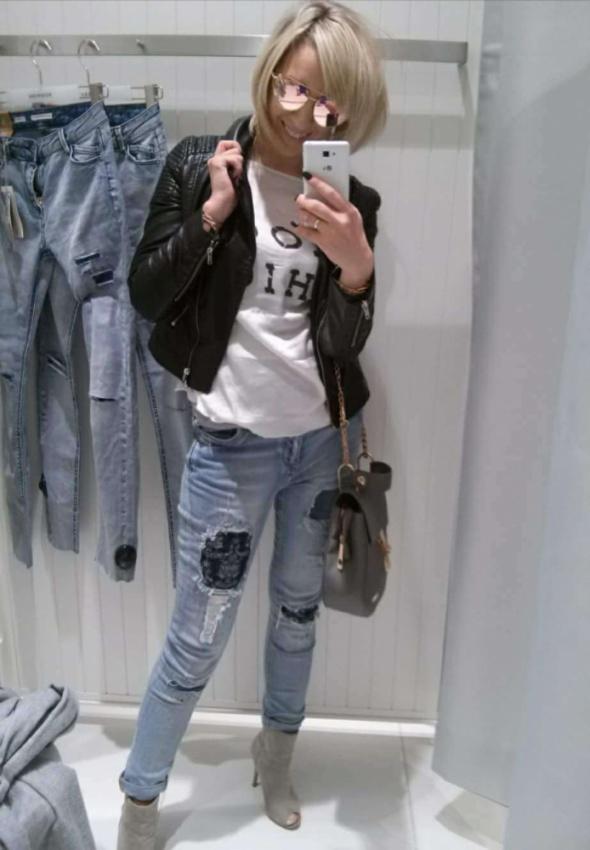 Jeansy spodnie laty przetarcia S