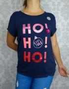Nowa granatowa bluzka świąteczna z nadrukiem print ho ho go Geo...