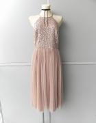 Maya Deluxe cekinowa tiulowa suknia 42