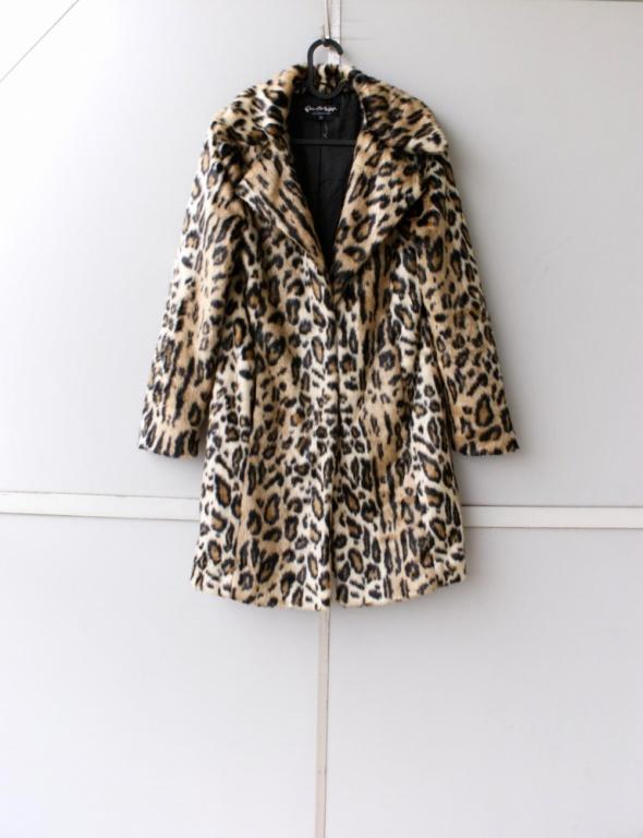Miss selfridge leopard coat panterkowy włochaty płaszcz 34 36