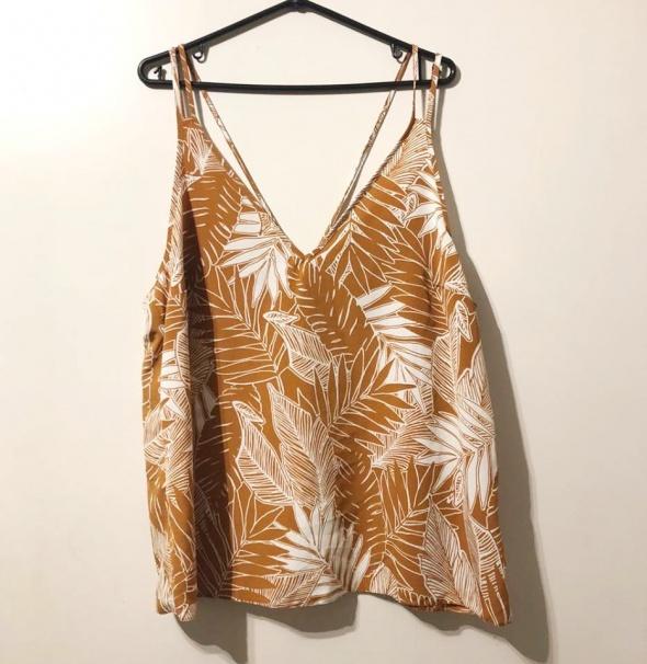 Bluzki Pomarańczowa bluzka w liście palmowe