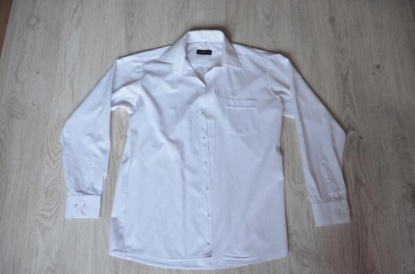 Biała koszula męska z długim rękawem elegancka wizytowa delikatne paski Native 40 176 182