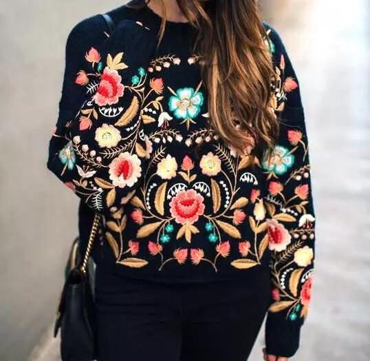 Kultowy sweter retro kwiaty