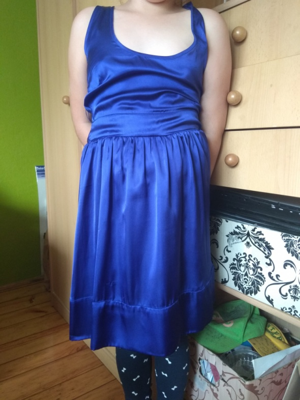 Suknie i sukienki Granatowa satynowa 36
