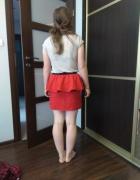 Czerwona spódnica z baskinką 36
