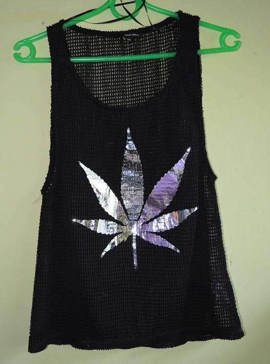 czarna koszulka marihuana siatka XS Tally Weijl...