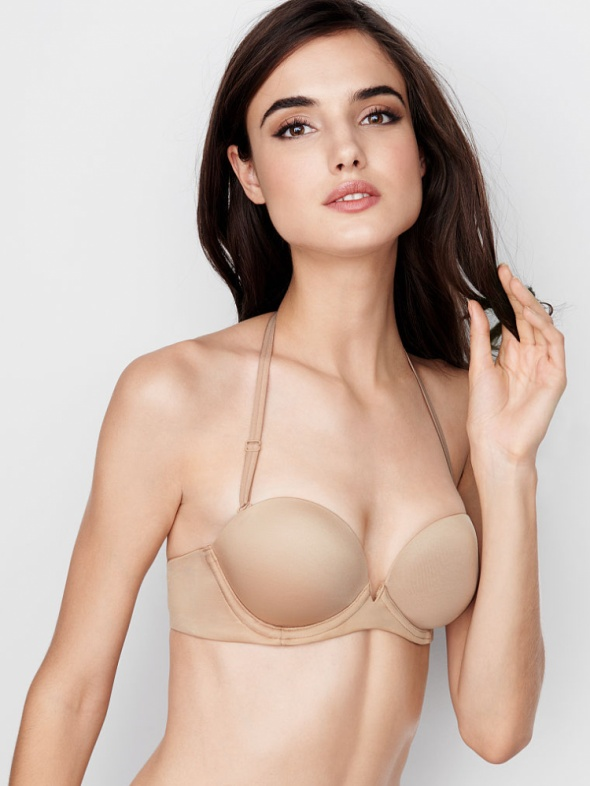 Beżowy stanik nude 80A push up strapless...