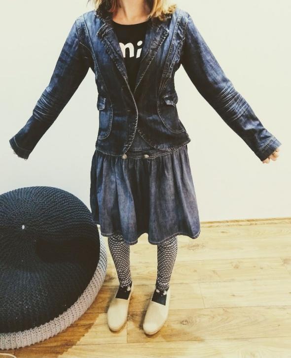 Jeansowy żakiet kurtka w stylu vintage bardzo fajnie lezy M lub...