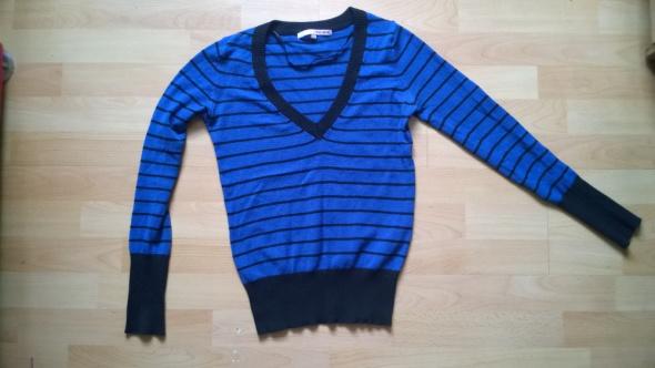 Sweterek tally wejli w paski czarno niebieski S...