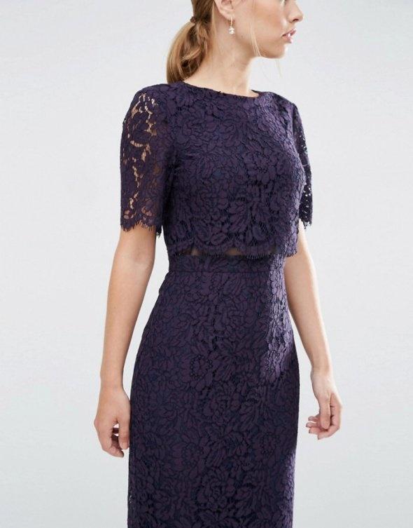 Fioletowa sukienka ASOS koronka midi...