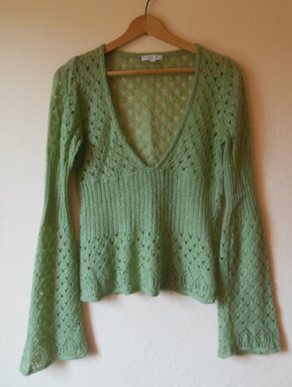 Kookai zielony ażurowy sweterek 36 38...