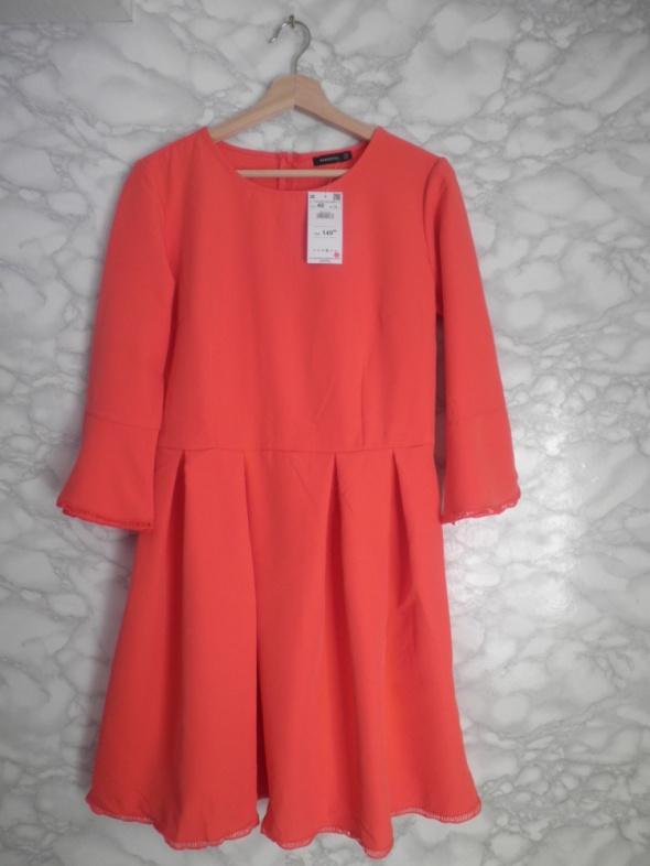 Reserved nowa pomarańczowa sukienka rozkloszowana kontrafałdy 40 L