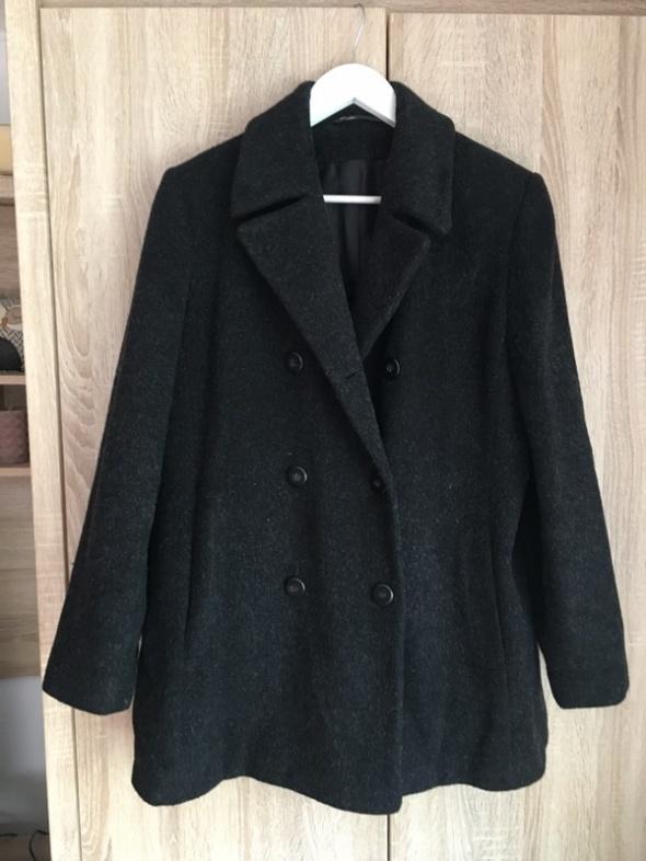 Ciemnoszary czarny płaszcz wełniany 42...