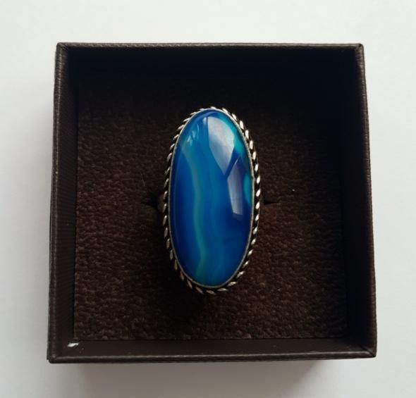 Nowy duży pierścionek vintage agat niebieski 18
