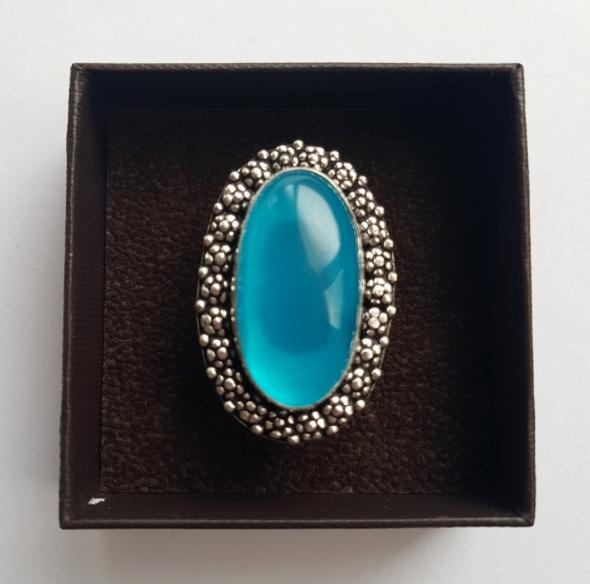 Nowy duży pierścionek vintage chalcedon turkusowy niebieski 18