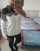 Piękna biała koszula z czarną koronką...