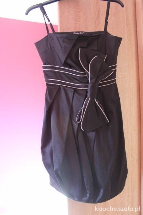 Czarna sukienka pretty girl z kokardą z metką...