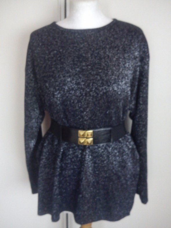 Czarno srebrny sweterek Oversize