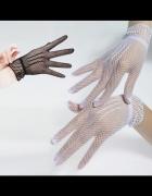 Rękawiczki Ślubne siateczka BIAŁE NOWE...